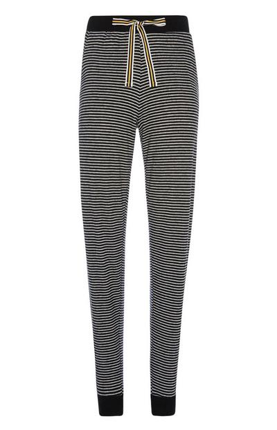 Black And White Stripe Slim Trousers