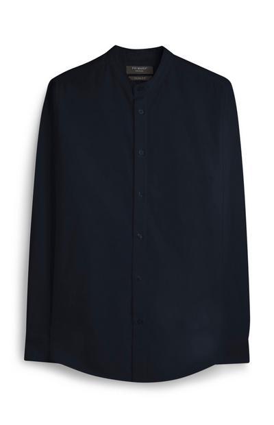 Marineblaues Oxford-Hemd mit Grandad-Kragen