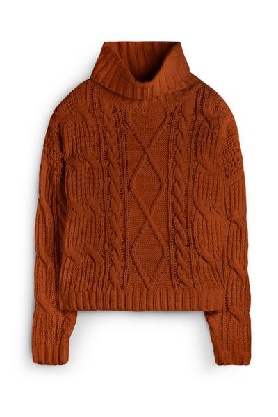Orange Cable Knit Jumper