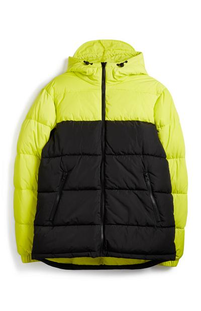 Yellow Colour Black Padded Coat