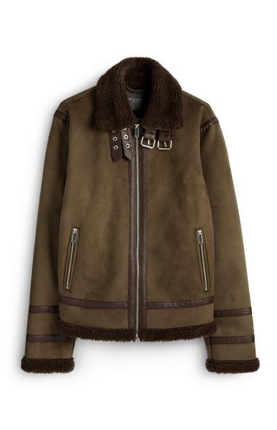 Khaki Suede Borg Jacket