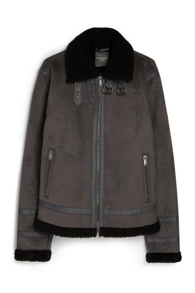 Grey Suede Borg Jacket