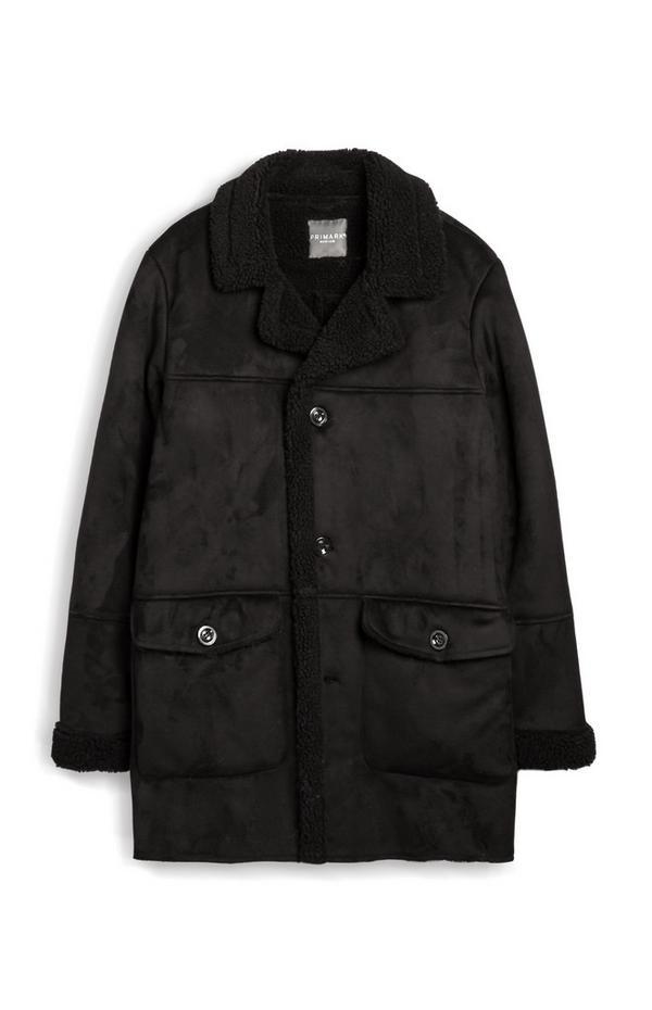 Black Faux Suede Overcoat