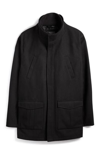 Black Wool Funnel Next Coat