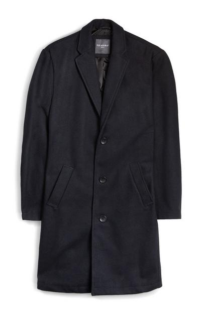 Navy Masculine Single Breasted Coat