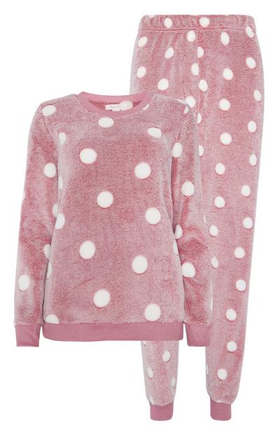 Sherpa Pink Polka Dot Pyjamas