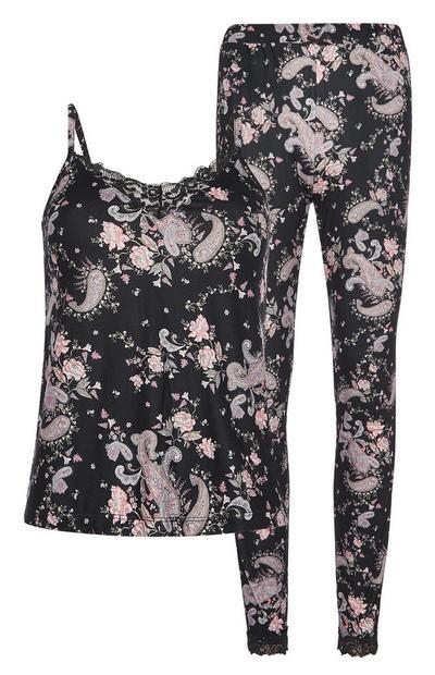 Black Paisley Pyjama Set