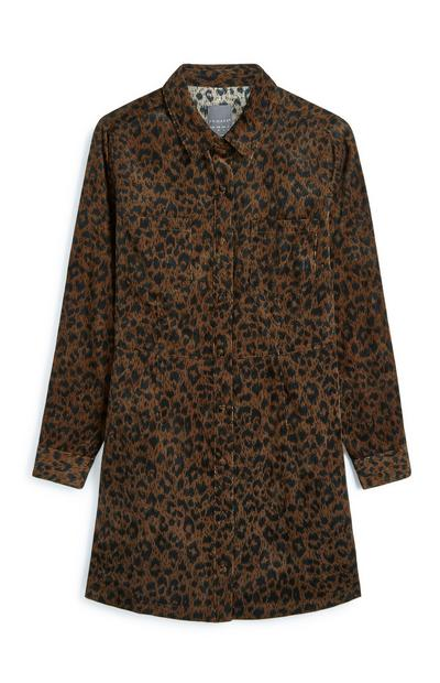 Animal Print Corduroy Longline Shirt