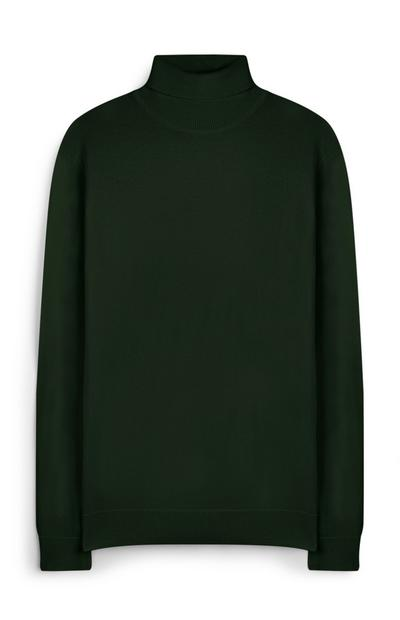 Grüner Pullover mit Rollkragen