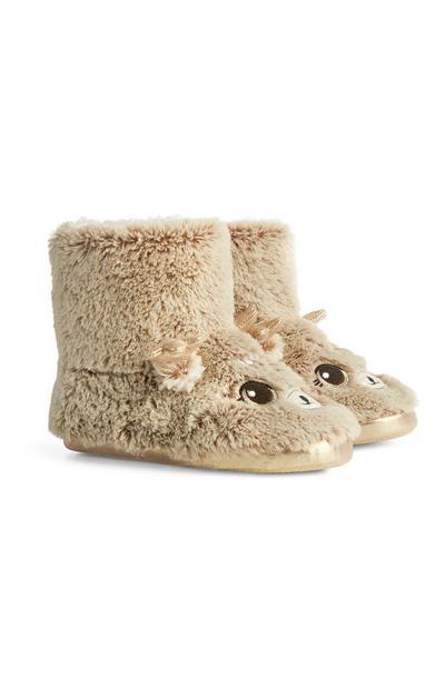 Brown Reindeer Slipper Boots