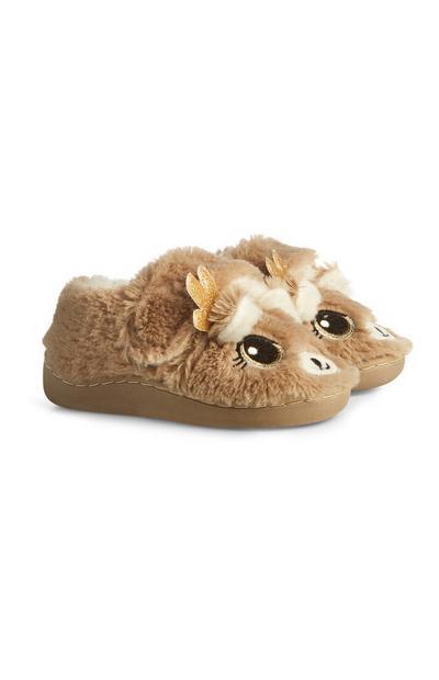 Brown Reindeer Slippers