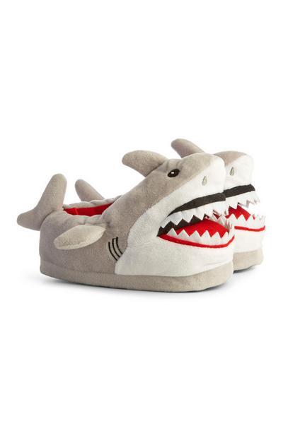 Grey Shark Slippers
