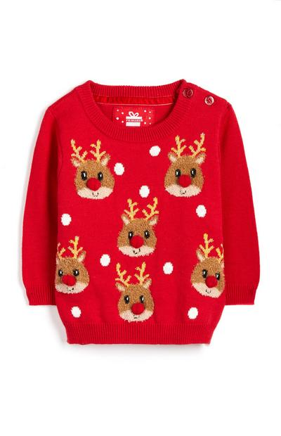 Baby Girl Red Reindeer Christmas Jumper