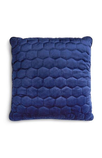 Blue Honeycomb Print Cushion