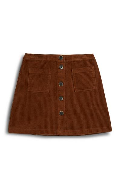Tan Cord Mini Skirt
