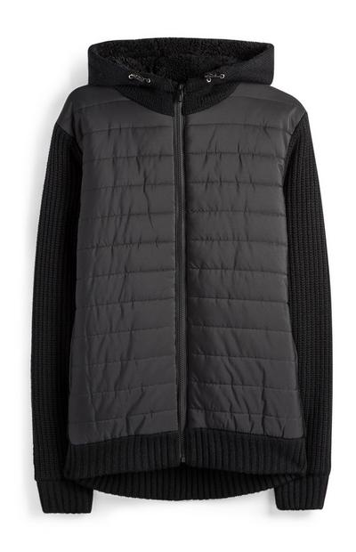 Black Knitted Hood Duffle Coat