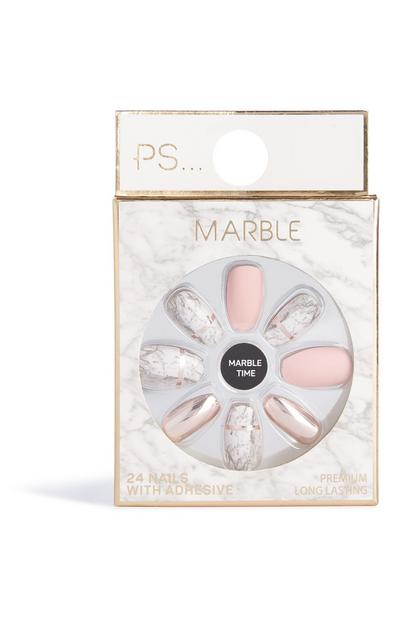 Marble False Nails
