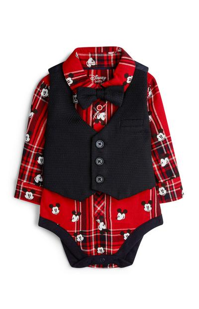Baby Boy Mickey Mouse Shirt And Waistcoat Onesie
