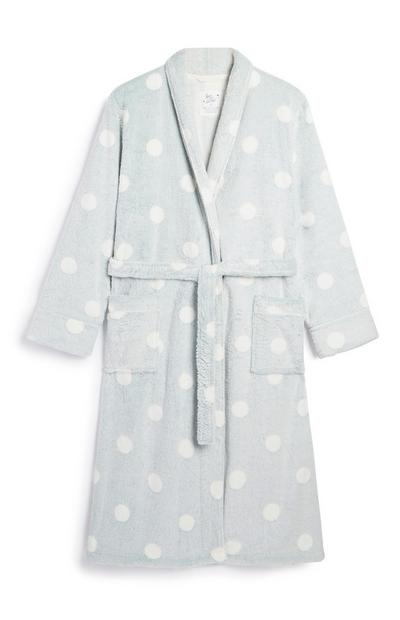Grey Polka Dot Dressing Gown