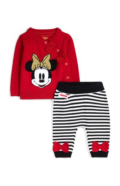 Newborn Girl Red Minnie Mouse Jumper And Striped Leggings
