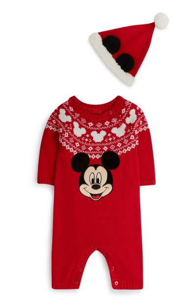 Baby Boy Red Mickey Mouse Sleepsuit And Hat