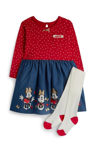 Baby Girl Minnie Mouse Polka Dot Dress With Tights