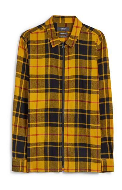 Yellow Zip Up Check Jacket