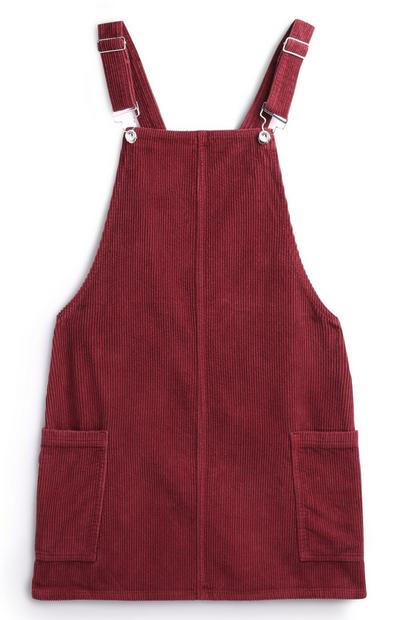 Red Corduroy Pinafore Dress With Pockets