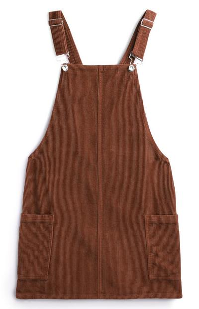 Brown Corduroy Pinafore Dress With Pockets