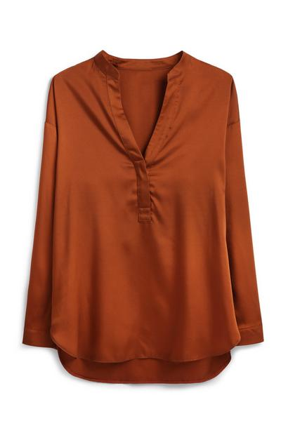 Brown Satin Shirt