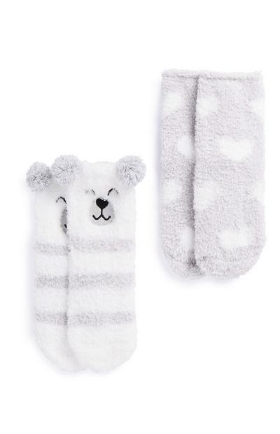 Polar Bear Cosy Socks 2Pk