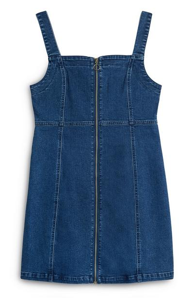 Blue Denim Bodycon Dress With Zip