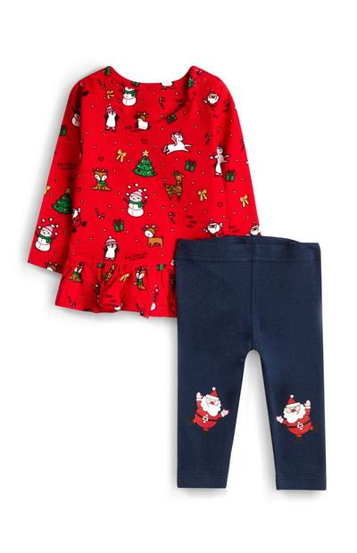 Baby Girl Red Christmas Frill Top and Legging Set