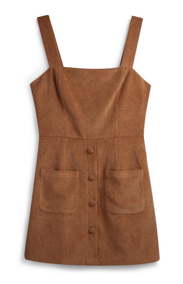 Tan Corduroy Pinafore Dress
