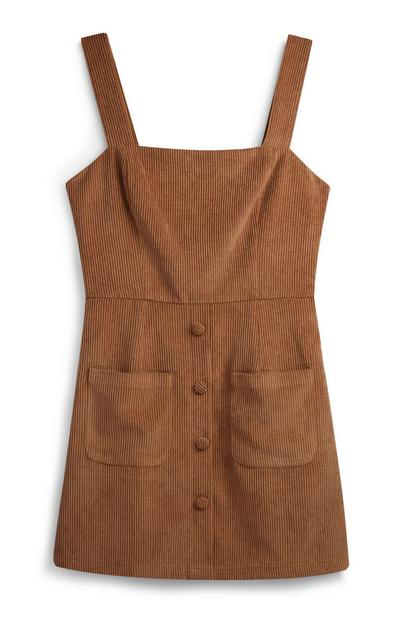 Tan Corduroy Pinafore Dress