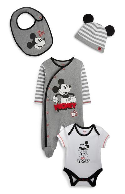 Newborn Boy Grey Matching Mickey Mouse Outfit 4Pc