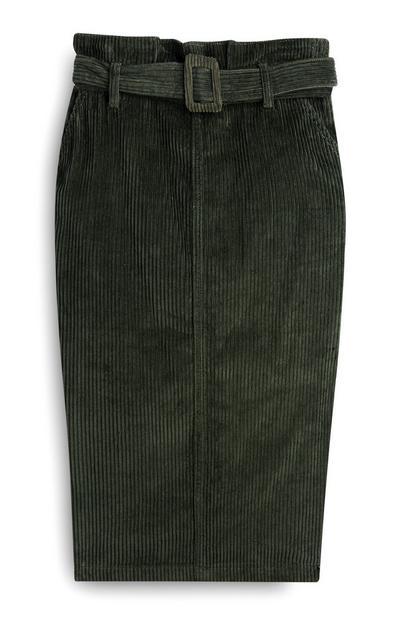 Green Cord Midi Skirt