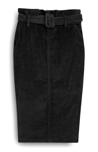 Black Cord Midi Skirt