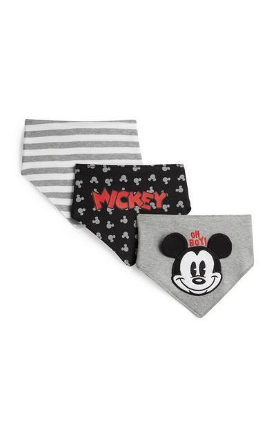 Grey Mickey Mouse Bibs 3Pk