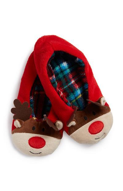 Red Reindeer Slipper Socks