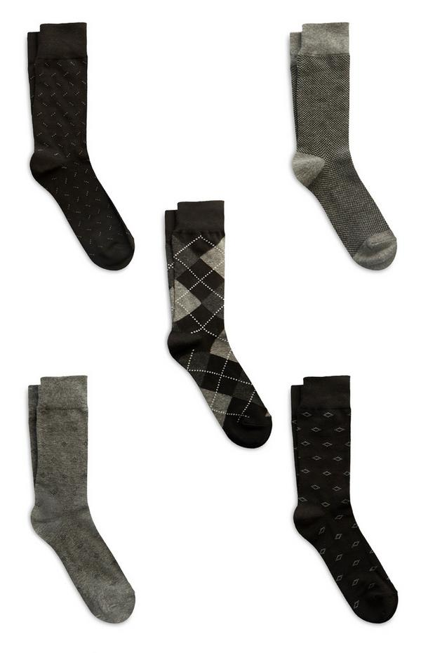 Black Modal Cotton Socks 5Pk