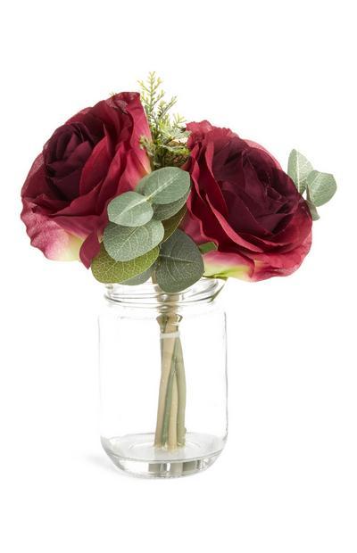 Multi Faux Flower Mason Jar