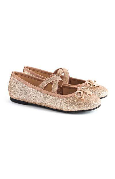 Younger Girl Gold Sparkly Ballerina Shoes With Star Pendant