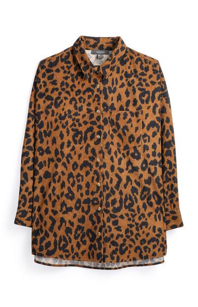 Cordhemd mit Leopardenprint