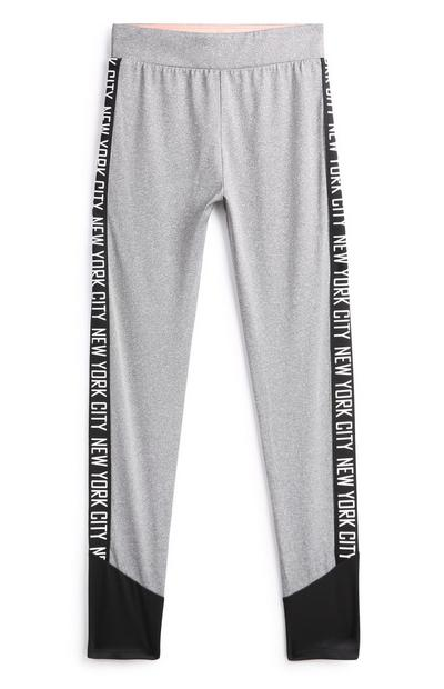Older Girl Grey Side Panel Leggings