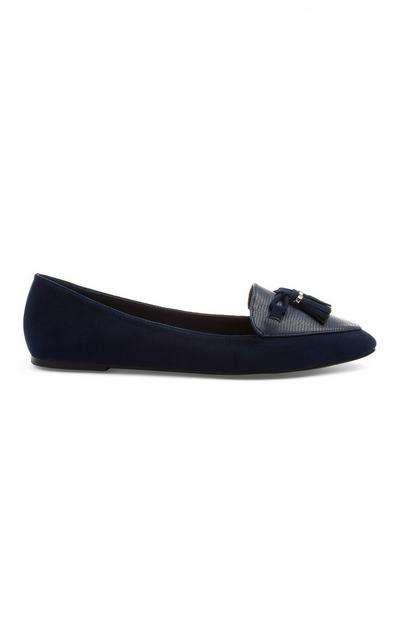 Navy Pointed Ballerina Pump
