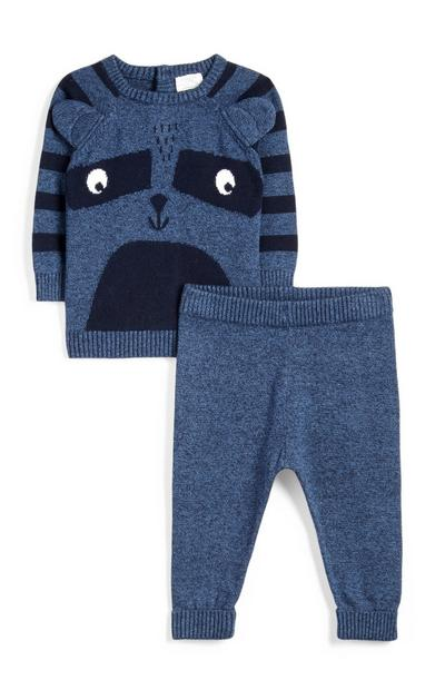 Newborn Born Navy Knitted Racoon Outfit 2Pc