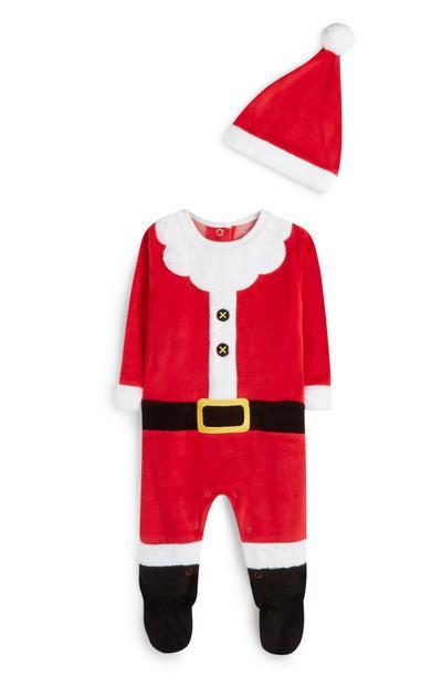 Newborn Red Santa Claus Sleep Suit And Hat