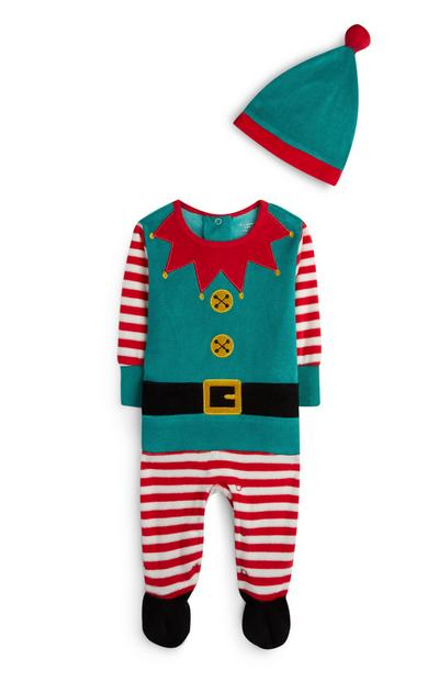 Newborn Green Velour Elf Sleepsuit