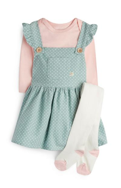 Newborn Girl Mint Polka Dot Pinafore Outfit With Tights
